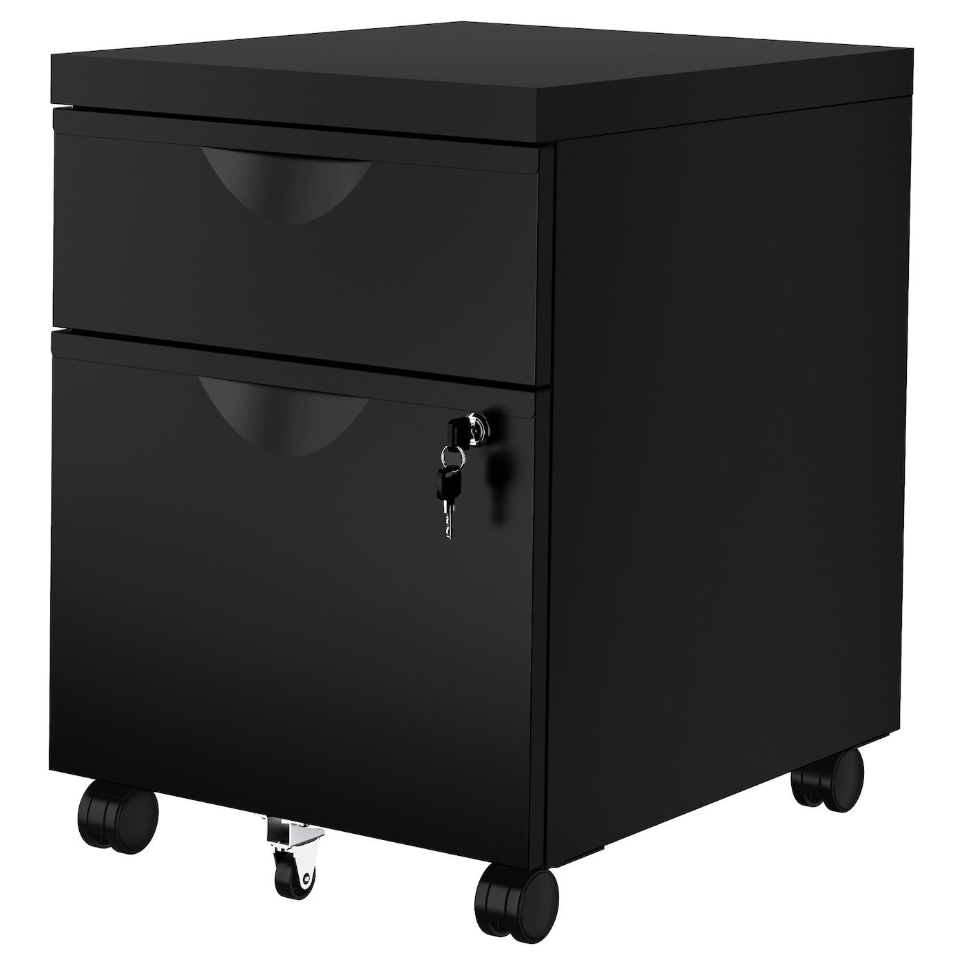 IKEA ERIK czarna komoda na kółkach z dwiema szufladami, 41x57 cm