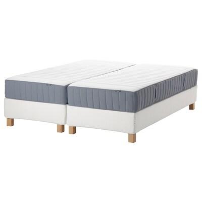 ESPEVÄR/VALEVÅG Łóżko kontynentalne, biały/średnio twardy jasnoniebieski, 160x200 cm