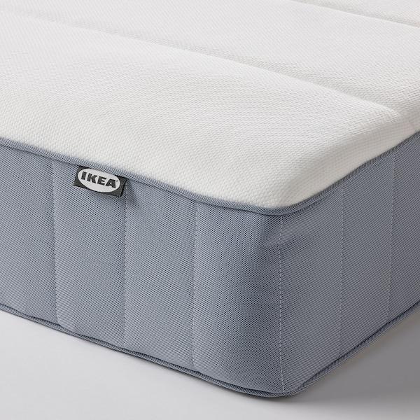 ESPEVÄR/VESTERÖY Łóżko kontynentalne, biały/średnio twardy jasnoniebieski, 180x200 cm