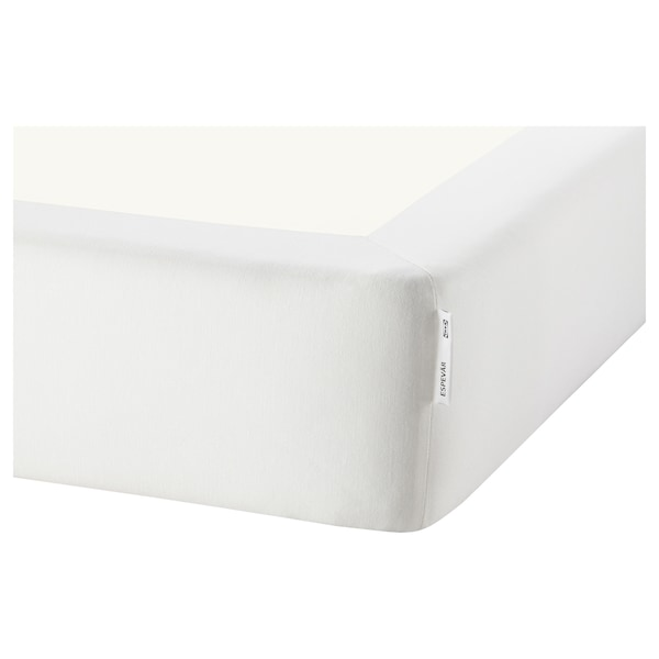 ESPEVÄR/VESTMARKA Łóżko kontynentalne, biały/średnio twardy jasnoniebieski, 140x200 cm