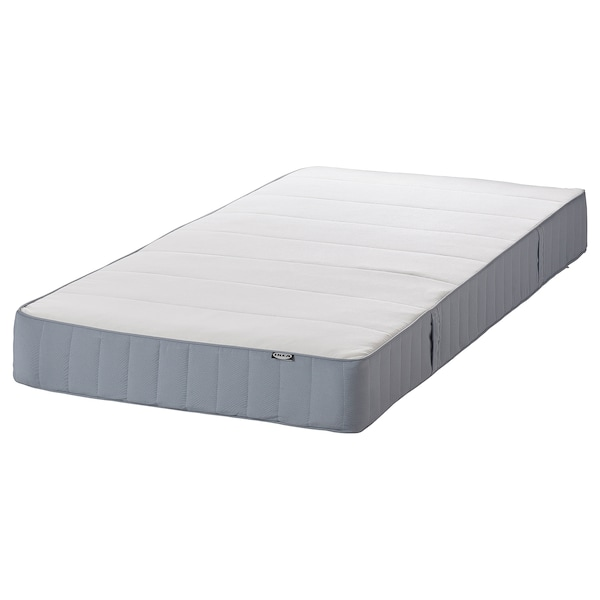 ESPEVÄR/VESTMARKA Łóżko kontynentalne, biały/średnio twardy jasnoniebieski, 160x200 cm