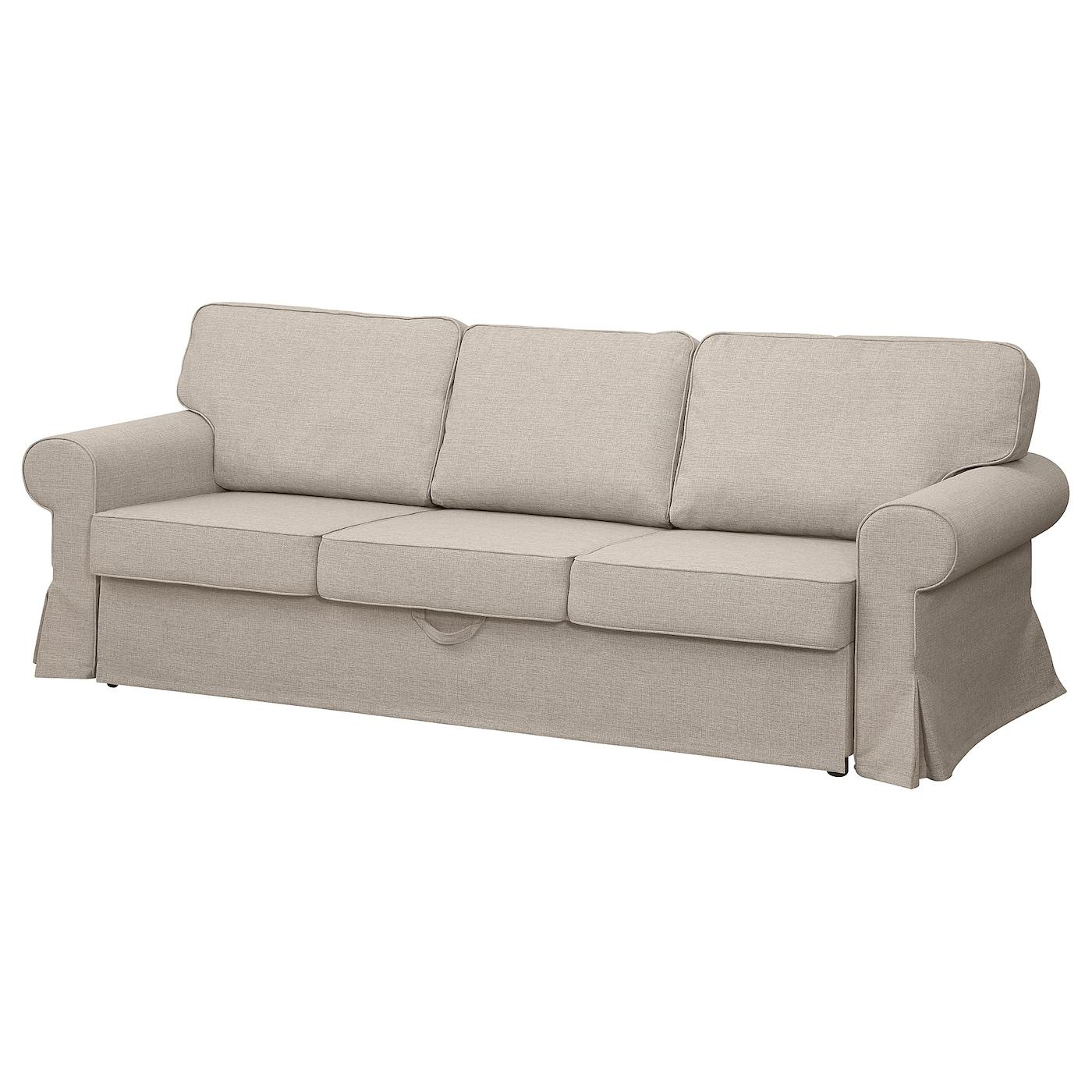 IKEA EVERTSBERG Rozkładana sofa 3-osobowa, z pojemnikiem beżowy