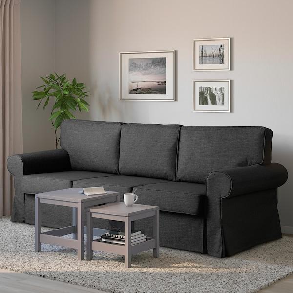 EVERTSBERG Rozkładana sofa 3-osobowa, z pojemnikiem ciemnoszary