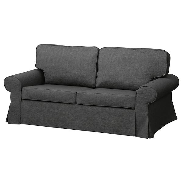 EVERTSBERG Sofa 2-osobowa rozkładana, z pojemnikiem ciemnoszary