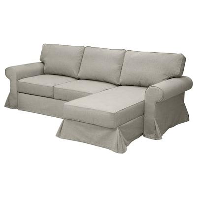 EVERTSBERG Sofa 2-osobowa rozkładana, z szezlongiem i pojemnik/beżowy