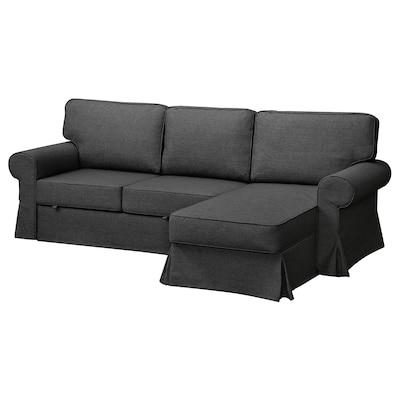 EVERTSBERG Sofa 2-osobowa rozkładana, z szezlongiem z pojemnikiem/ciemnoszary