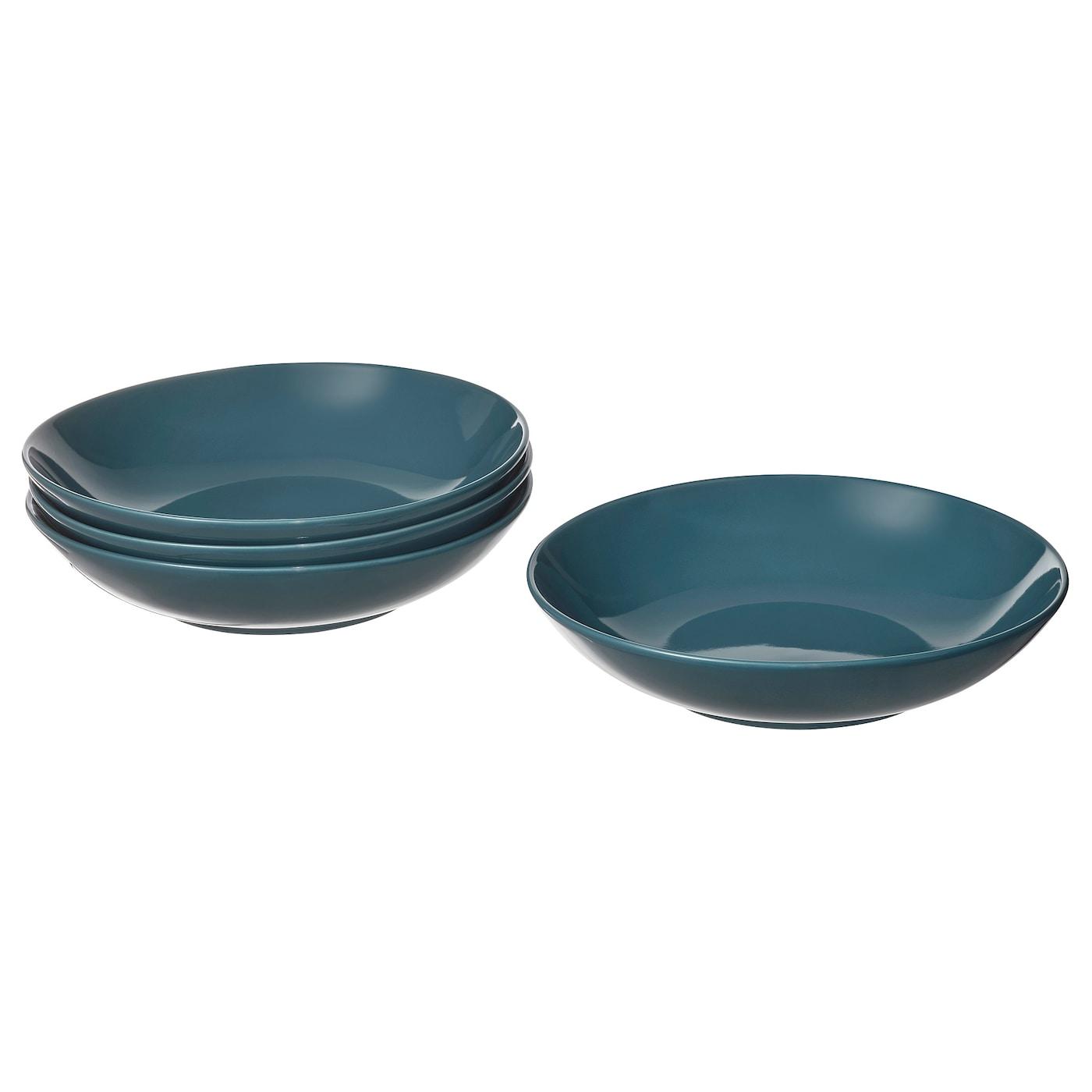 FÄRGKLAR zupas sķīvis - tumši tirkīza spīdīga 23 cm, 4gb.