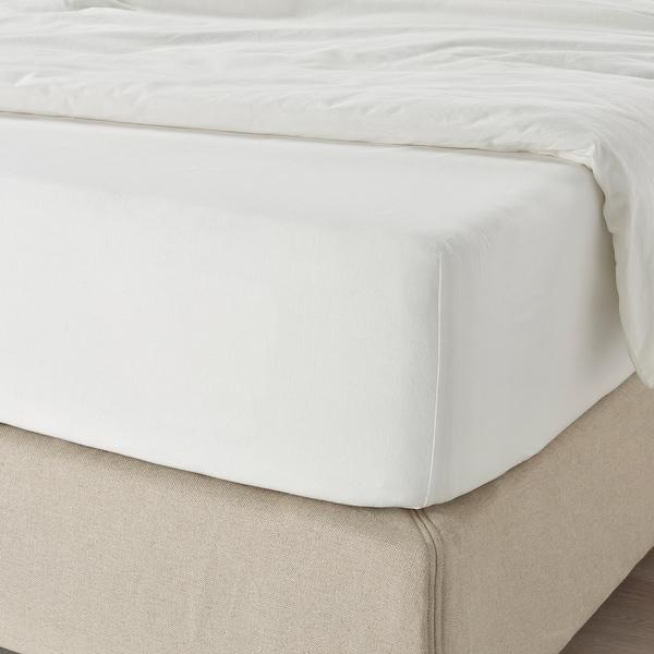 FÄRGMÅRA Prześcieradło z gumką, biały, 160x200 cm