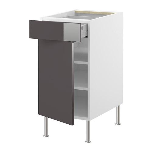 FAKTUM base cabinet w shelf/drawer/door, Abstrakt grey Width: 39.8 cm Depth: 60.0 cm Height: 86.0 cm.
