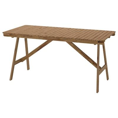 FALHOLMEN Stół, ogrodowy, bejca jasnobrązowa, 153x73 cm