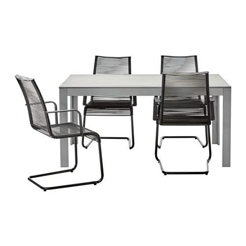 FALSTER / VÄSMAN Stół+4 krzesła z podłok., na zew. , szary, czarny
