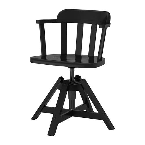 Feodor Krzesło Obrotowe Z Podłokietnikami Czarny Ikea