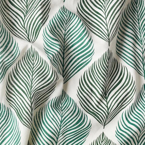 FJÄDERKLINT Zasłona, 2 szt., biały/zielony, 145x300 cm