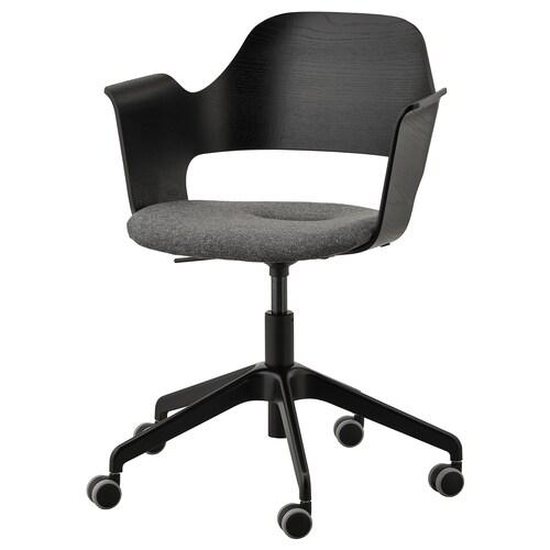 FJÄLLBERGET krzesło konferencyjne z kółkami okl jesionowa bejcowana na czarno/Gunnared ciemnoszary 110 kg 71 cm 71 cm 86 cm 42 cm 40 cm 43 cm 56 cm