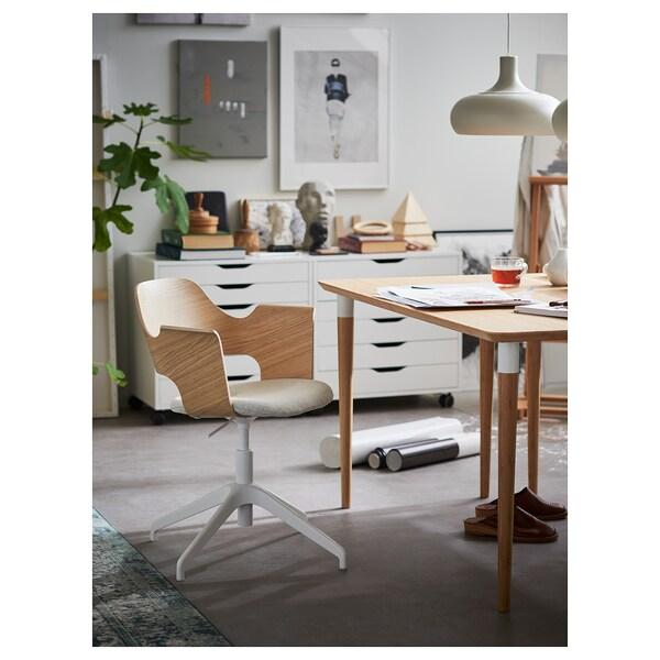 FJÄLLBERGET Krzesło konferencyjne, okleina dębowa bejcowana na biało/Gunnared beżowy