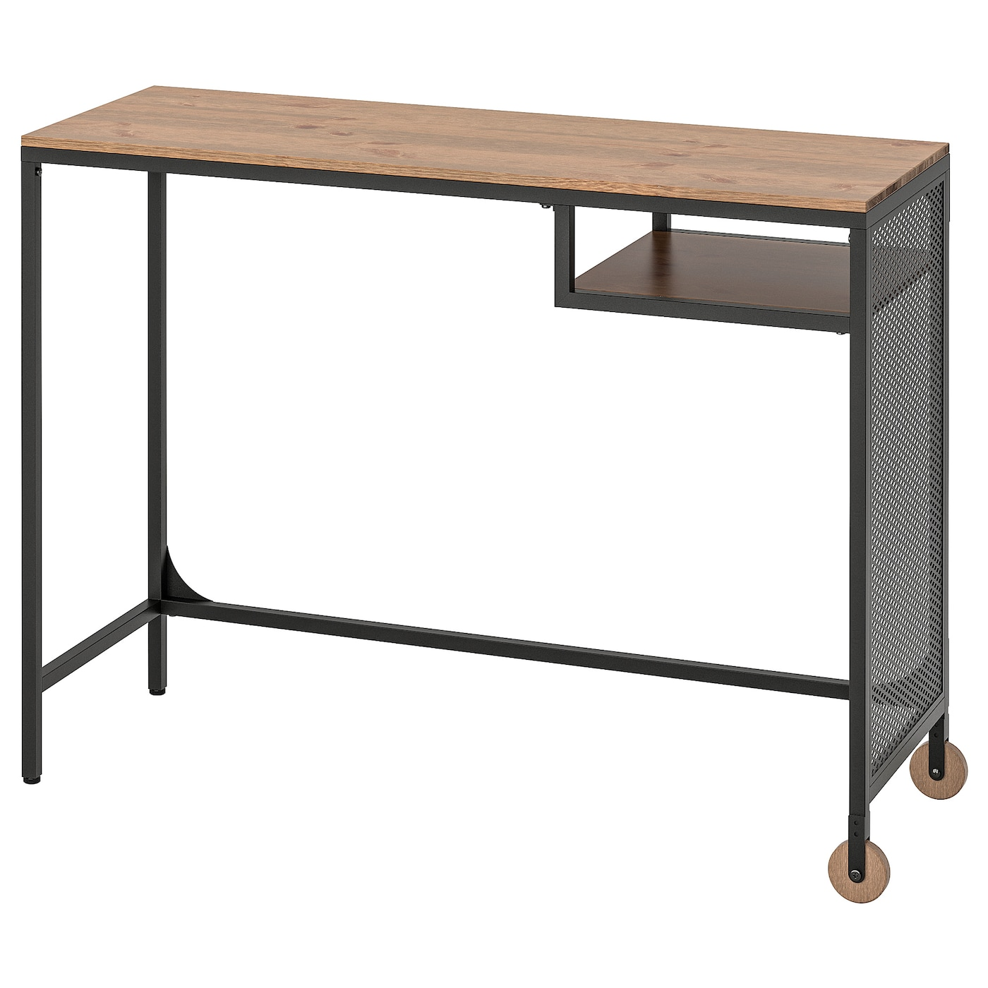 IKEA FJÄLLBO czarny, metalowe biurko na laptop z blatem z litego drewna, 100x36 cm