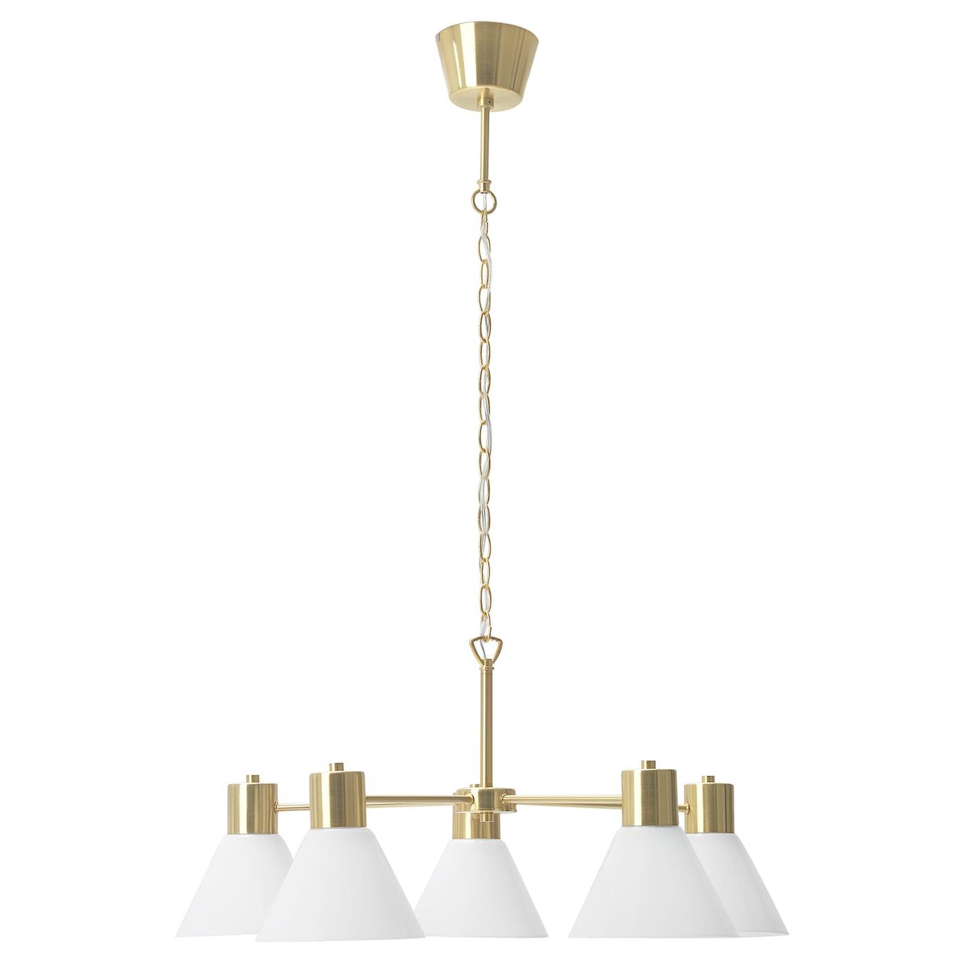 IKEA FLUGBO Żyrandol, kolor mosiądzu, szkło