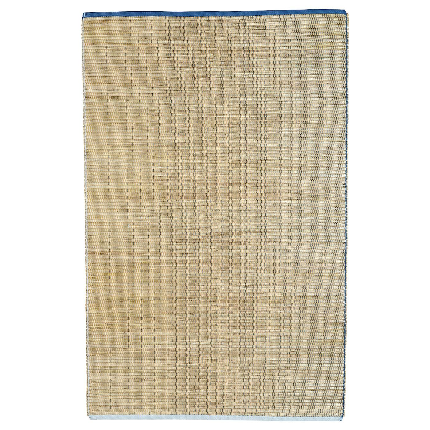 FÖRÄNDRING lamekootud vaip - käsitsi valmistatud / riisikõrre sinine / looduslik 120x180 cm Suured kuni keskmise suurusega vaibad