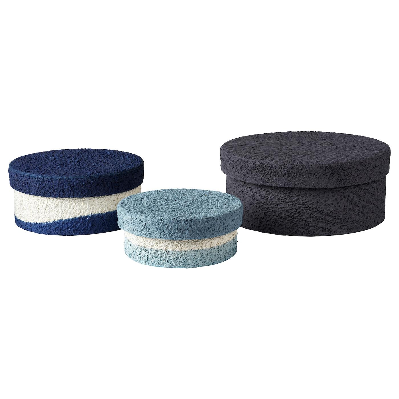 FÖRÄNDRING Karbikomplekt 3 - käsitsi valmistatud / riisikõrre sinine / must Karbid kingade ja riiete jaoks