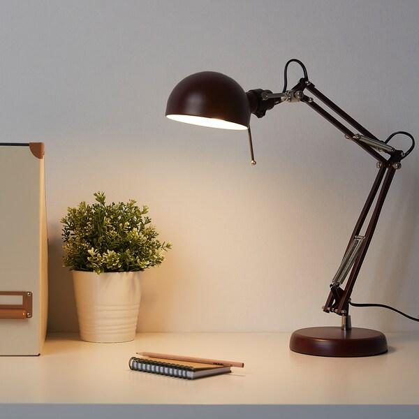 FORSÅ lampa biurkowa ciemnoczerwony 35 cm 15 cm 12 cm 1.8 m