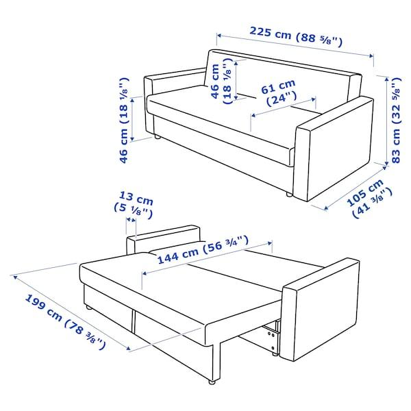 FRIHETEN Sofa trzyosobowa rozkładana, Bomstad czarny