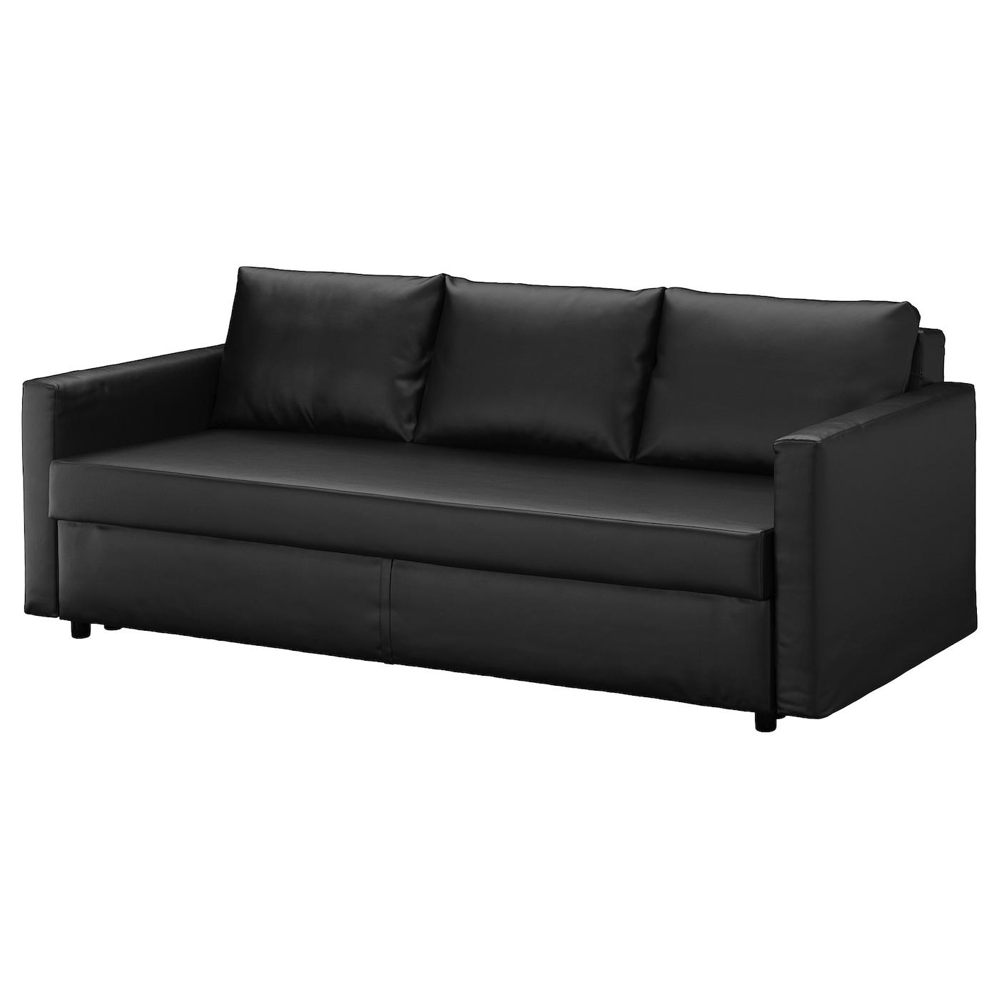 IKEA FRIHETEN czarna, trzyosobowa sofa rozkładana