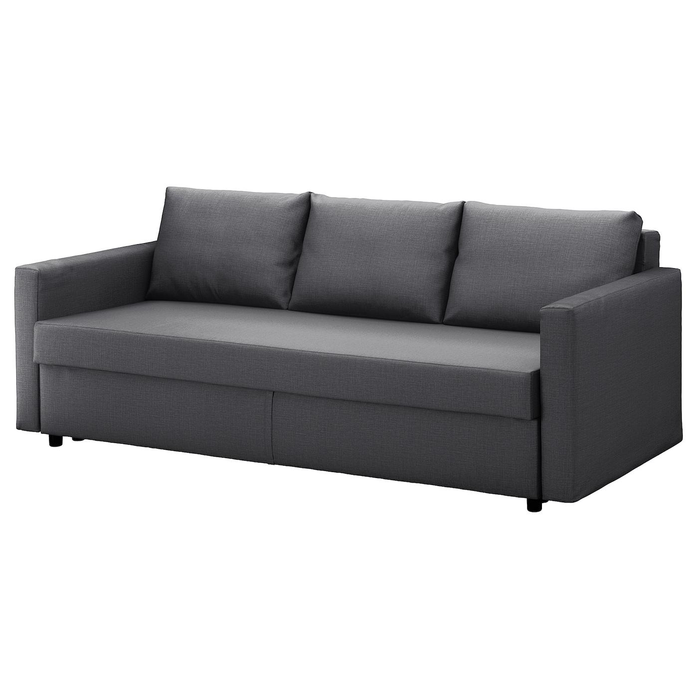 IKEA FRIHETEN ciemnoszara, trzyosobowa sofa rozkładana