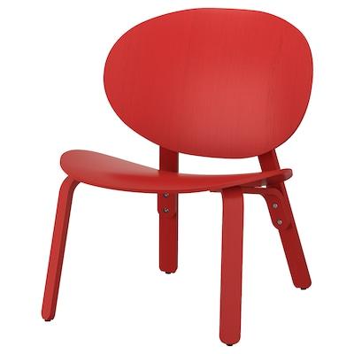 FRÖSET Fotel, czerwona bejca okl dęb