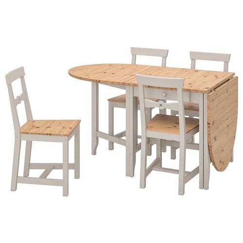 GAMLEBY stół i 4 krzesła bejca jasna patyna/szary 134 cm 67 cm 201 cm 78 cm 74 cm