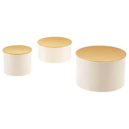 GLITTRIG pudełko ozdobne, zestaw 3 szt. kolor kości słoniowej/złoty kolor