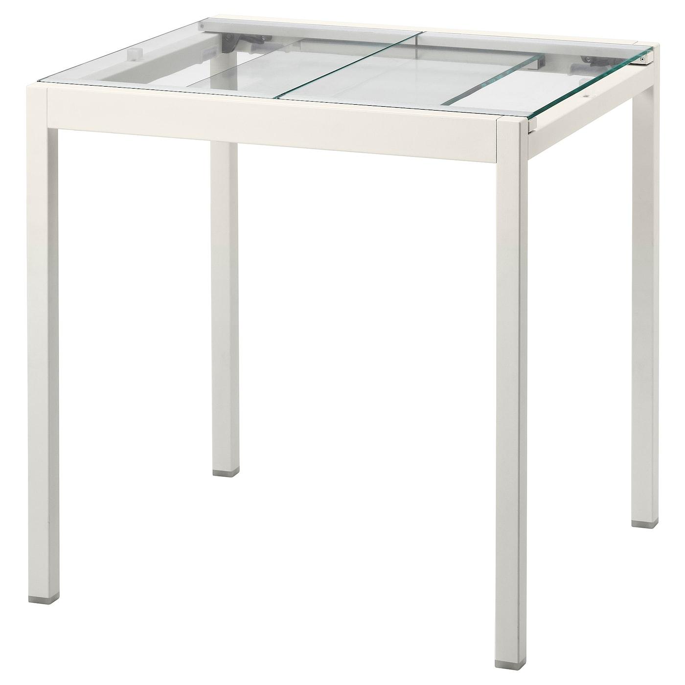 IKEA GLIVARP Stół rozkładany, przezroczysty, biały, 75/115x70 cm
