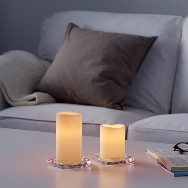 IKEA GODAFTON Świeca bryłowa led, wew/zew, 2 szt.