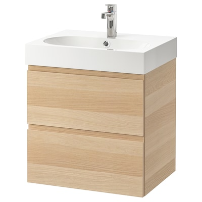 GODMORGON / BRÅVIKEN Szafka pod umywalkę z 2 szufladami, dąb bejcowany na biało/Bateria Brogrund, 61x49x68 cm