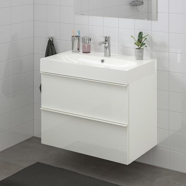 GODMORGON / BRÅVIKEN Szafka pod umywalkę z 2 szufladami, połysk biały/Bateria Brogrund, 80x48x68 cm