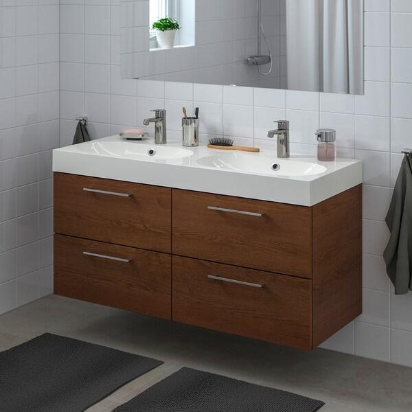 GODMORGON / BRÅVIKEN Szafka pod umywalkę z 4 szufladami, imitacja okleiny bejc na brąz/bateria Dalskär, 120x48x68 cm
