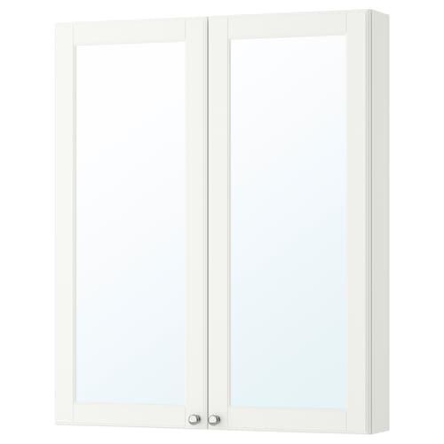 GODMORGON szafka z lustrem i drzwiami Kasjön biały 80 cm 14 cm 96 cm