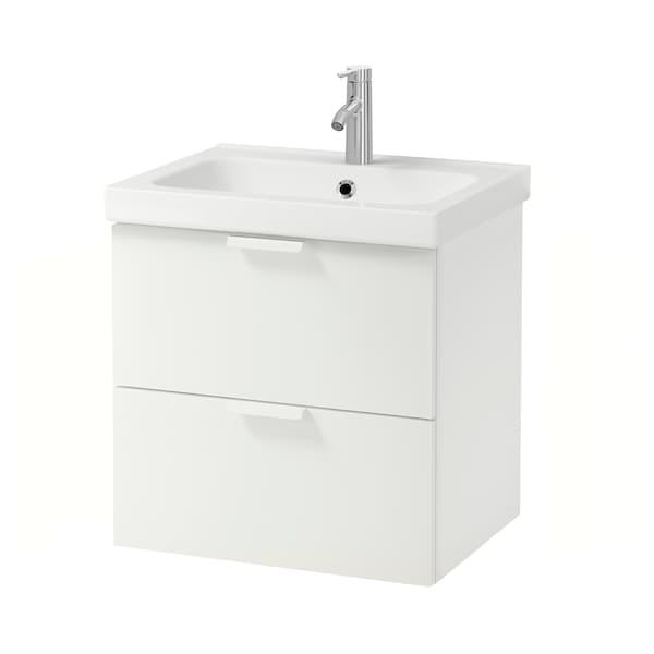 GODMORGON / ODENSVIK Szafka pod umywalkę z 2 szufladami, biały/bateria Dalskär, 63x49x64 cm