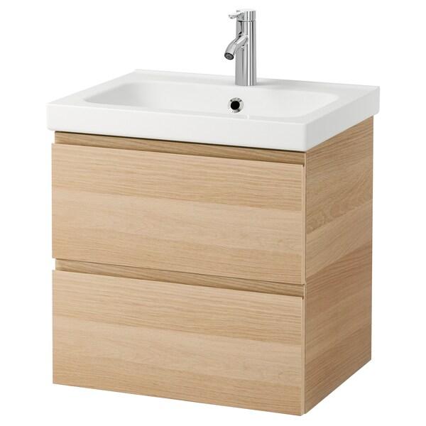 GODMORGON / ODENSVIK Szafka pod umywalkę z 2 szufladami, dąb bejcowany na biało/bateria Dalskär, 63x49x64 cm