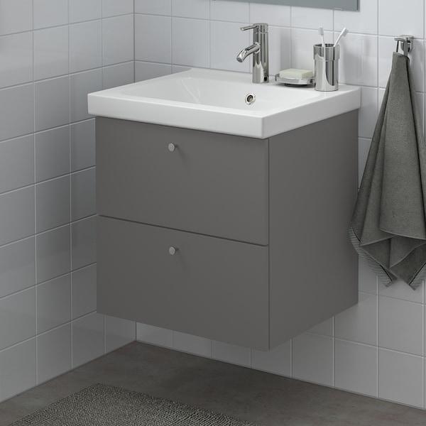 GODMORGON / ODENSVIK Szafka pod umywalkę z 2 szufladami, Gillburen ciemnoszary/bateria Dalskär, 63x49x64 cm