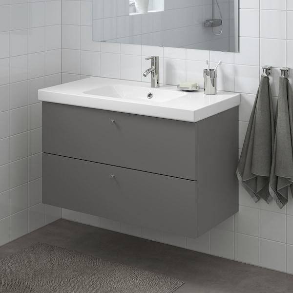 GODMORGON / ODENSVIK Szafka pod umywalkę z 2 szufladami, Gillburen ciemnoszary/bateria Dalskär, 103x49x64 cm