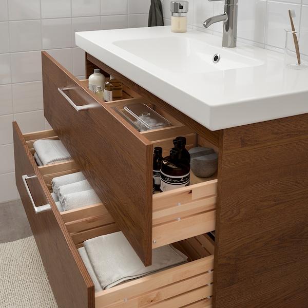 GODMORGON / ODENSVIK Szafka pod umywalkę z 2 szufladami, imitacja okleiny bejc na brąz/bateria Dalskär, 103x49x64 cm