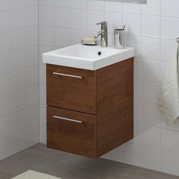 GODMORGON / ODENSVIK Szafka pod umywalkę z 2 szufladami, imitacja okleiny bejc na brąz/bateria Dalskär, 43x49x64 cm
