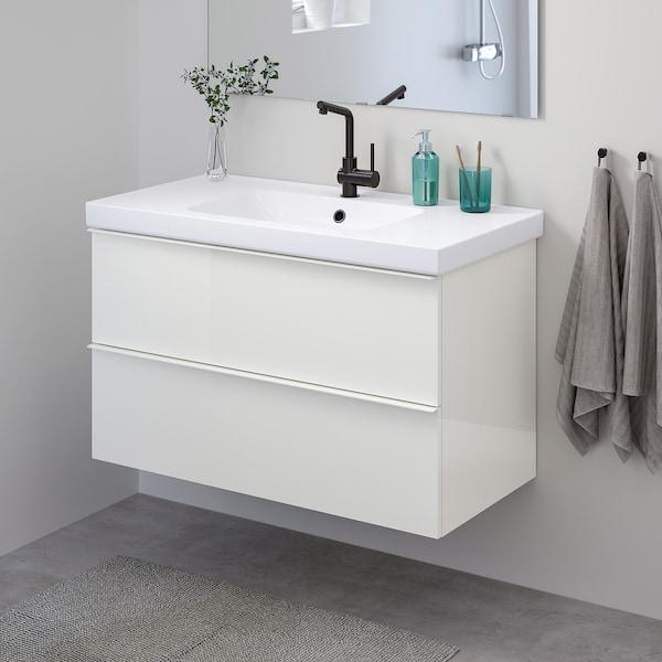 GODMORGON / ODENSVIK Szafka pod umywalkę z 2 szufladami, połysk biały/LUNDSKÄR kran, 103x49x64 cm