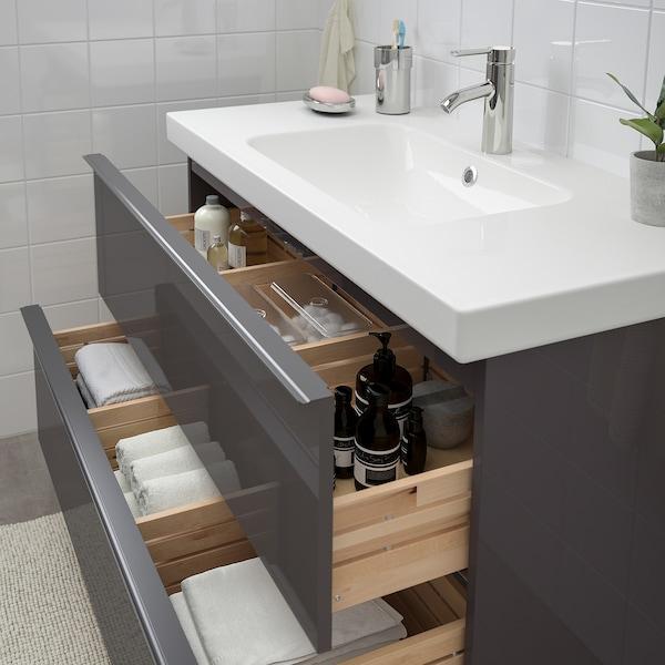 GODMORGON / ODENSVIK Szafka pod umywalkę z 2 szufladami, połysk szary/bateria Dalskär, 103x49x64 cm