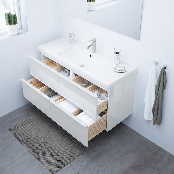 GODMORGON / ODENSVIK Szafka pod umywalkę z 4 szufladami, połysk biały/bateria Dalskär, 123x49x64 cm