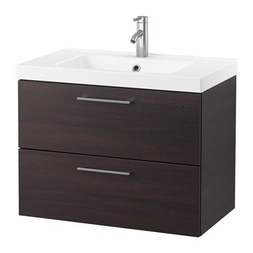 godmorgon odensvik szafka pod umywalk z 2 szufladami czarnobr z ikea. Black Bedroom Furniture Sets. Home Design Ideas