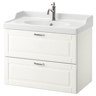 GODMORGON / RÄTTVIKEN Szafka pod umywalkę z 2 szufladami, Kasjön biały/bateria Hamnskär, 82x49x68 cm