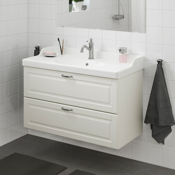 GODMORGON / RÄTTVIKEN Szafka pod umywalkę z 2 szufladami, Kasjön biały/bateria Hamnskär, 102x49x68 cm