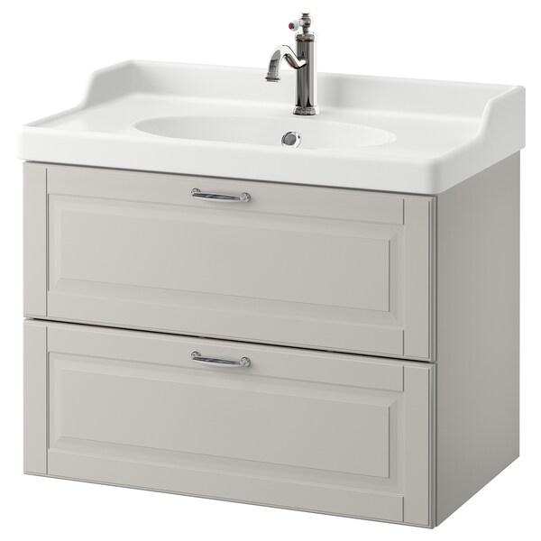GODMORGON / RÄTTVIKEN Szafka pod umywalkę z 2 szufladami, Kasjön jasnoszary/bateria Hamnskär, 82x49x68 cm