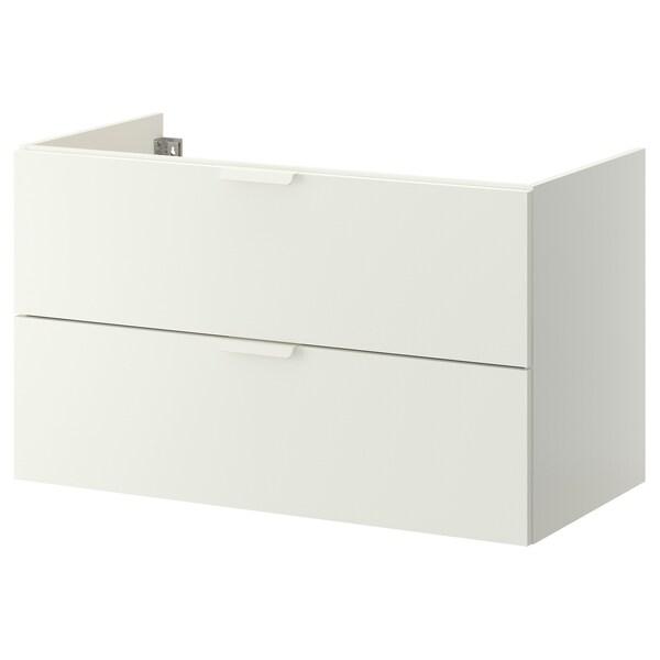 GODMORGON Szafka pod umywalkę z 2 szufladami, biały, 100x47x58 cm